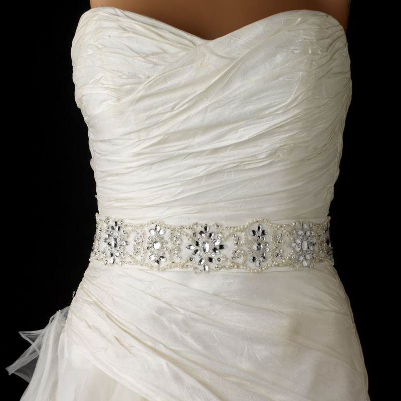 Embroidered White or Ivory Bridal Sash with Floral Crystal Beading ...