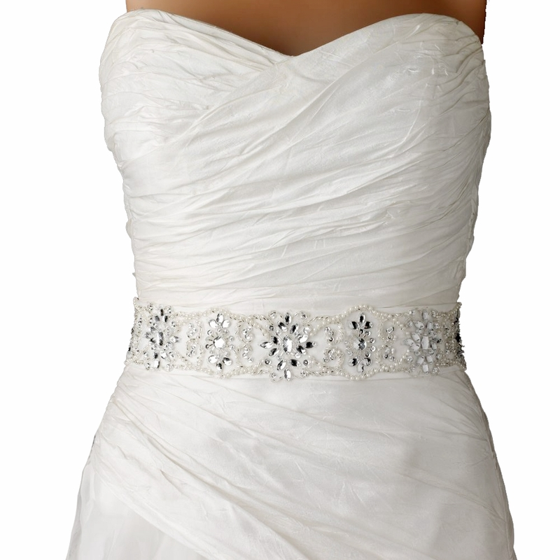 Embroidered White Or Ivory Bridal Sash With Floral Crystal Beading