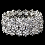 Clear Rhodium Flower Rhinestone Stretch Bracelet 9886