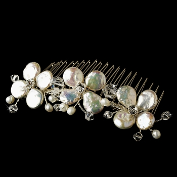 Gorgeous Coin Pearl Bridal Comb 8136