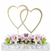 Completely Covered ~ Swarovski Crystal Wedding Cake Topper ~ Double Large Gold Heart