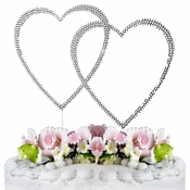 Completely Covered ~ Swarovski Crystal Wedding Cake Topper ~ Double Large Silver Heart