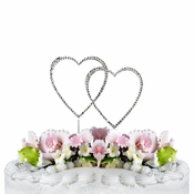Completely Covered ~ Swarovski Crystal Wedding Cake Topper ~ Double Small Silver Heart