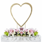 Completely Covered ~ Swarovski Crystal Wedding Cake Topper ~ Single Large Gold Heart
