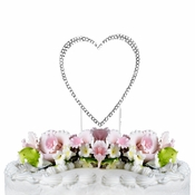 Completely Covered ~ Swarovski Crystal Wedding Cake Topper ~ Single Small Silver Heart