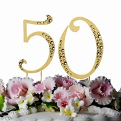 Crystal Accented Gold Plated Numeric Cake Toppers