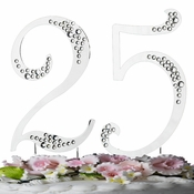 Crystal Accented Silver Plated Anniversary & Birthday Cake Toppers