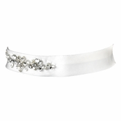 * Crystal and Pearl Beaded Wedding Sash Bridal Bridal Belt 27 Ivory