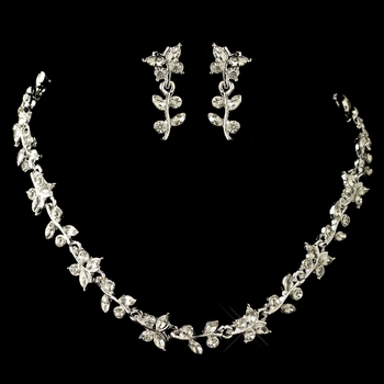 Crystal Butterfly Necklace and Earring Set NE 056