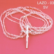 Crystal Lazo 3 with Silver Cross