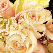 Crystal Rhinestone Initial Bouquet Letter