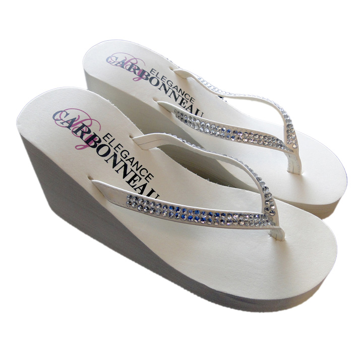 94bbce1e6fd0c Crystals ~ Ivory or White High Wedge Bridal Flip Flops with Crystal Accented  Suedene Strap