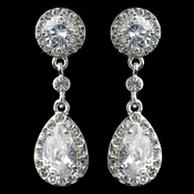 Cubic Zirconia Bridal Earrings E 25197 (Pierced or Clip On)