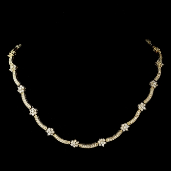 Cubic Zirconia Necklace 6009 Gold Clear