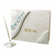 Delightful Blue Daisy Quincea�era Guest Book & Pen Set