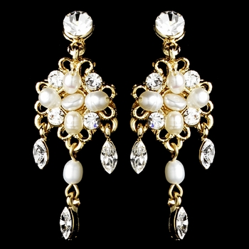 Delightful Gold Clear Crystal & Freshwater Pearl Floral Earrings 6206