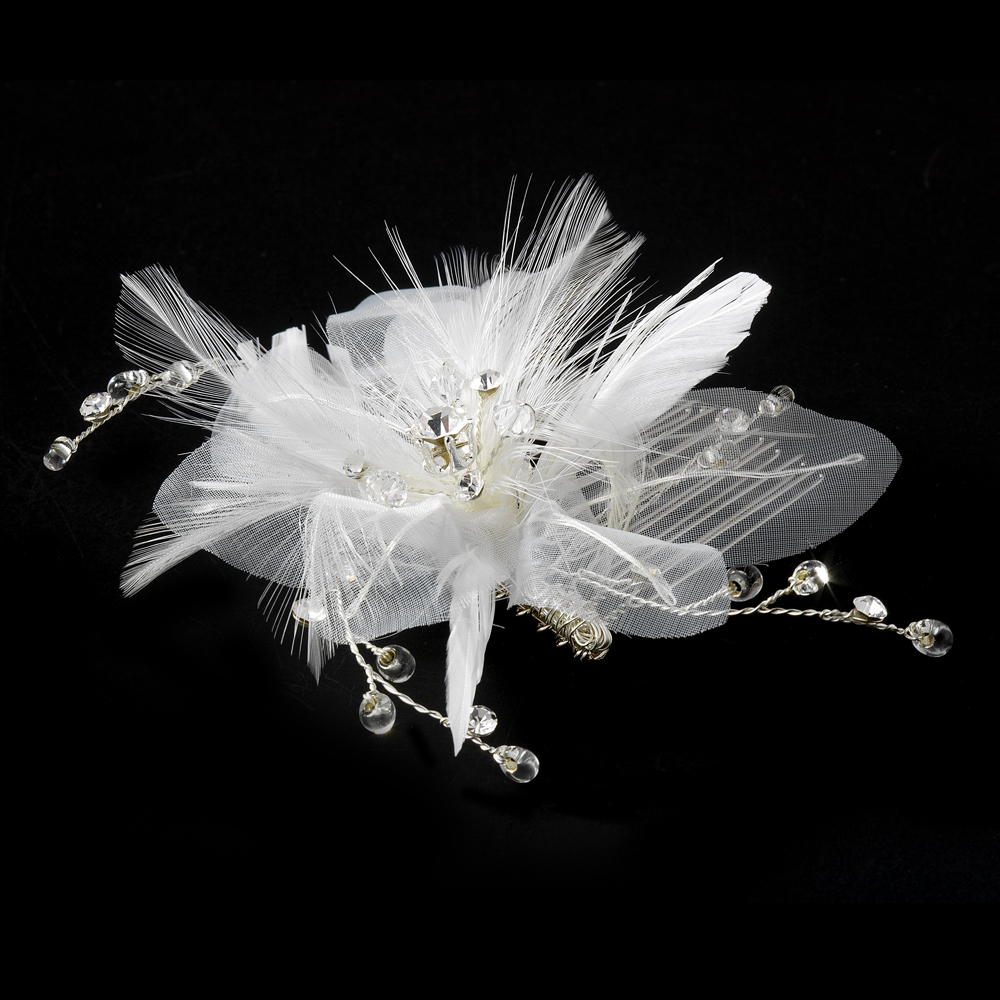 Delightful White Flower Bridal Comb W Soft Feathers Silver Clear