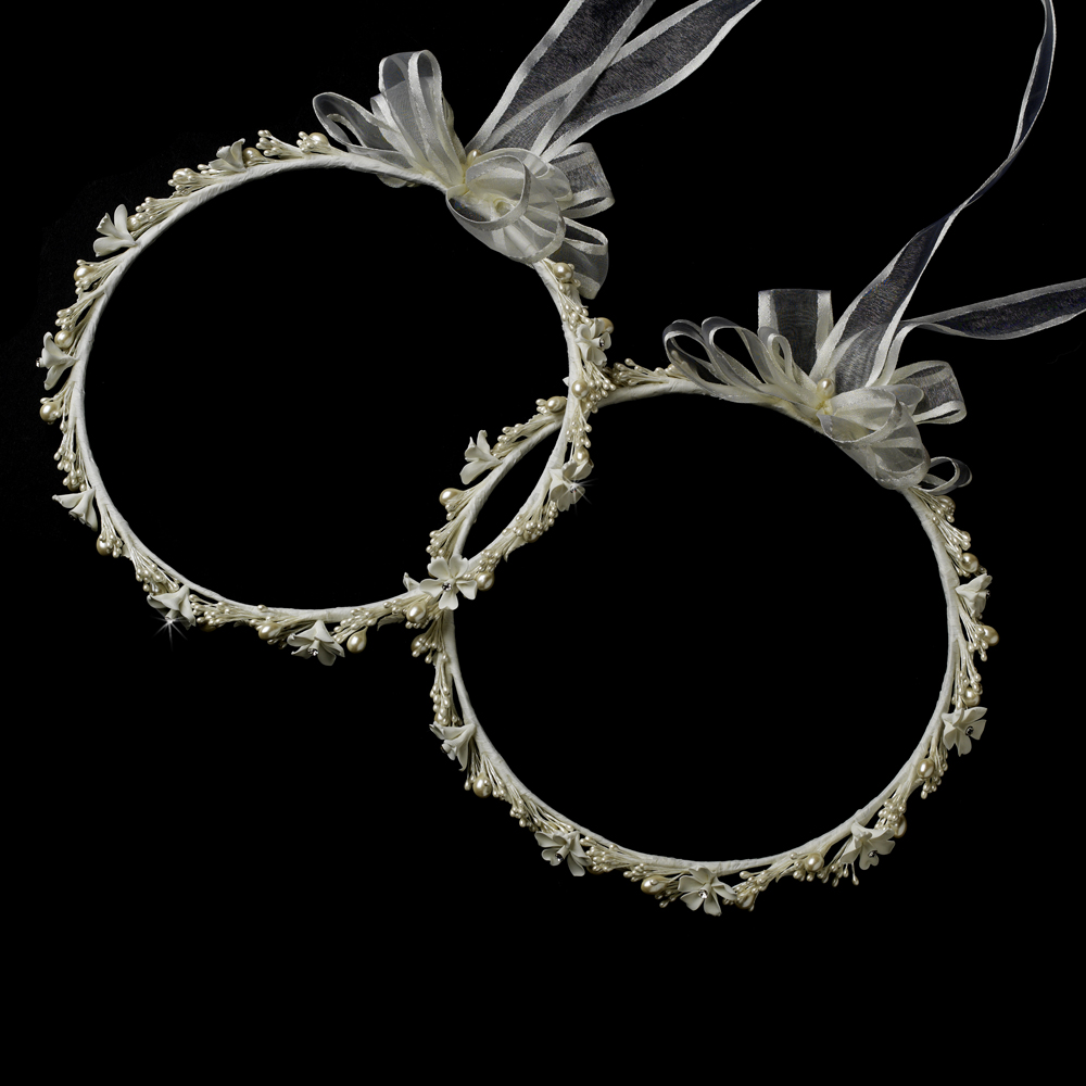 Delightful White Or Ivory Flower Pearl Greek Stefana Wedding Crowns 8017