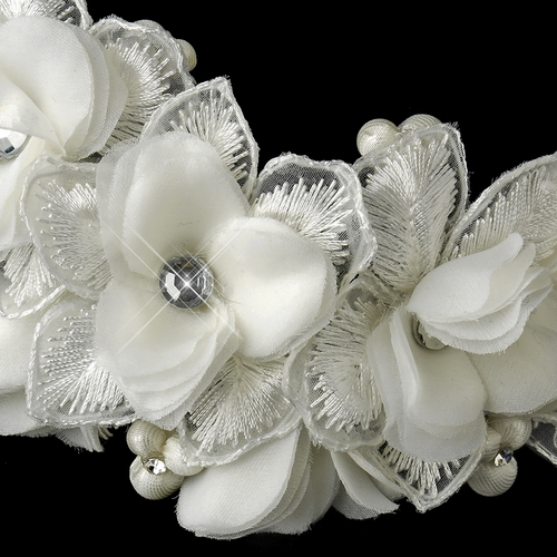 ✧SPECIAL ORDER ONLY✧ Diamond White Floral Lace & Organza Comb