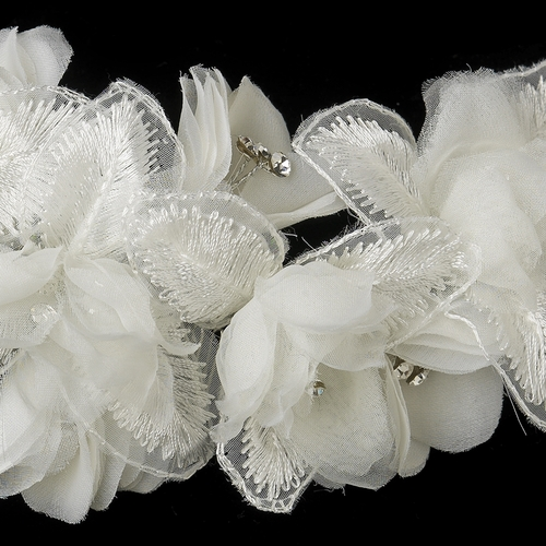 ✧SPECIAL ORDER ONLY✧ Diamond White Floral Lace & Sheer Organza Comb
