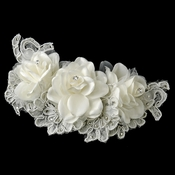 ✧SPECIAL ORDER ONLY✧  Diamond White Floral Organza & Lace Comb