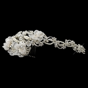 ✧SPECIAL ORDER ONLY✧ Diamond White Floral Organza, Rhinestone & Pearl Side Headband