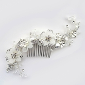 ✧SPECIAL ORDER ONLY✧ Diamond White Floral Sheer Organza Swarovski Crystal Bead Comb