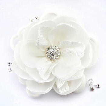 ✧SPECIAL ORDER ONLY✧  Diamond White Lace & Sheer Organza Ribbon Flower Clip