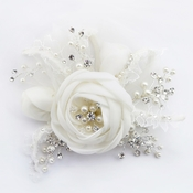 Diamond White Lace, Tulle & Satin Flower Clip