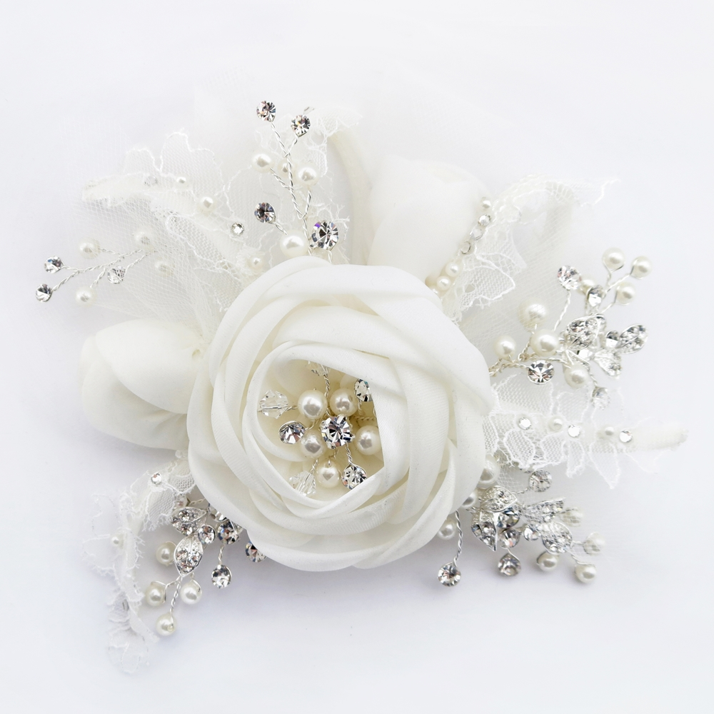 Diamond White Lace Tulle Satin Flower Clip