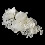 Diamond White Organza & Lace Flower Comb