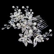 Diamond White Pearl & Rhinestone Floral Hair Comb 1178