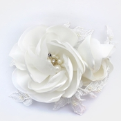 ✧SPECIAL ORDER ONLY✧ Diamond White Satin & Lace Rose Clip (Minimum order 24 pcs x $15 ea )