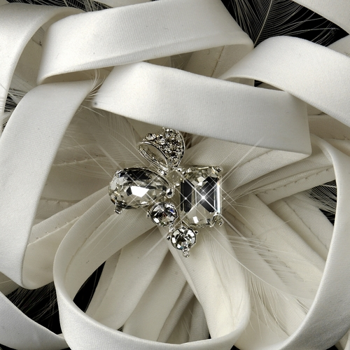 Diamond White Satin Ribbon Rhinestone Clip with Feathers