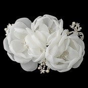 Diamond White Sheer Organza Triple Flower Clip