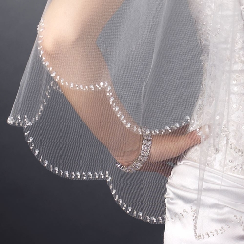 Double Layer Elbow Length Scalloped Edge with Pearls & Bugle Beads Veil 136 E