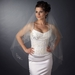 Double Layer Fingertip Length Bugle Beaded Edge with Rhinestone Floral Design Veil 4433 F