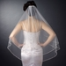 Double Layer Fingertip Length Cut Edge with Pearls, Bugle Beads & Sequins Veil 2496 F