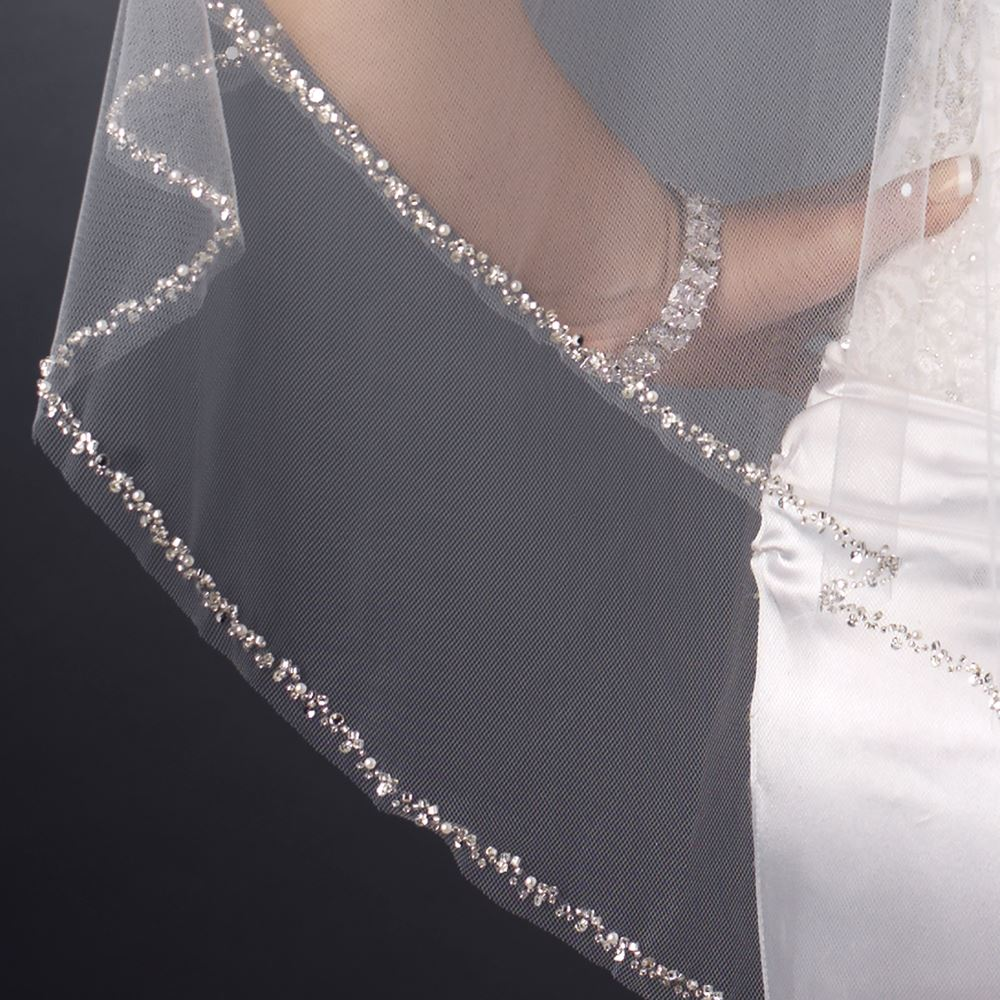 double layer fingertip length cut edge with pearls  bugle beads  u0026 sequins veil 2496 f