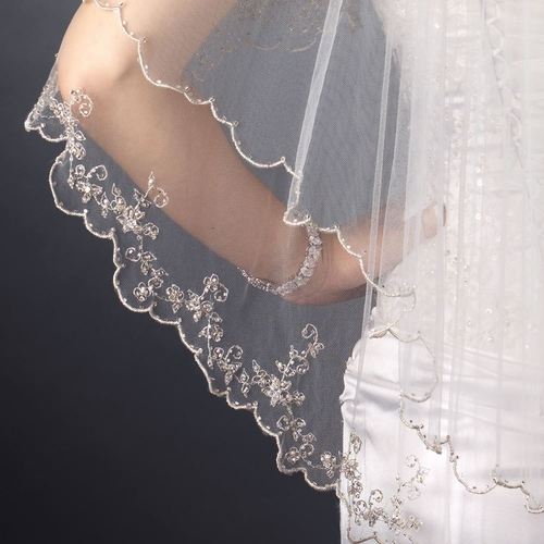 Double Layer Fingertip Length Floral Scalloped Corded Bugle Beaded Edge Veil 1661 F