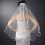 Double Layer Fingertip Length Scalloped Cut Edge with Silver Stictching & Rhinestones Veil 2554 F