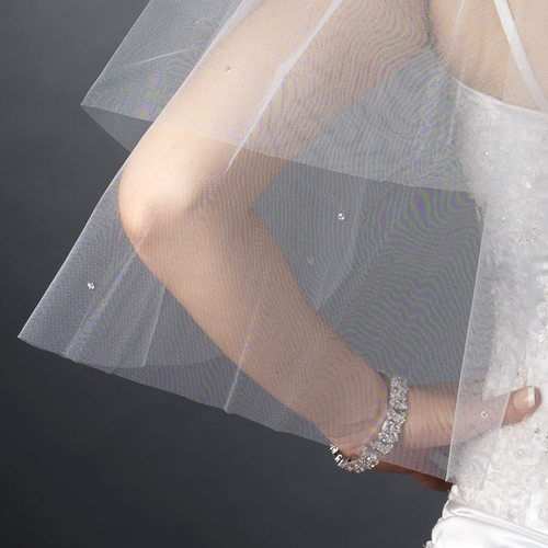 Double Layer Shoulder Length Cut Edge Swarovski Crystal Scattered Veil FC V 0392 S