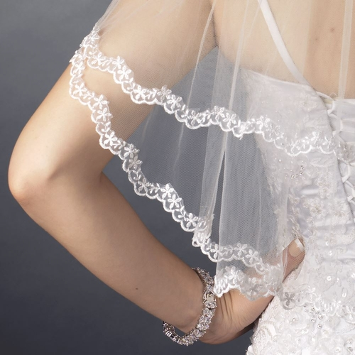 Double Layer Shoulder Length Scalloped Floral Embroidered Lace Edge Veil 112 S