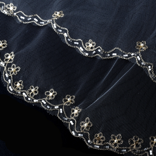 Double Layer Veil With Gold Embroidered Floral Pattern On