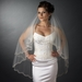 Double Layer Veil with Silver Embroidered Floral Pattern on Pearl & Bead Scolloped Edge V 1780