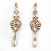 Elegant Rose Gold CZ Pearl Dangling earring E 2027