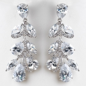 Rhodium Silver Clear CZ Teardrop Dangle Earrings E 3904