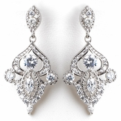 Rhodium Silver Vintage CZ Dangle Earrings 3908