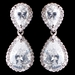 Rhodium Silver Teardrop CZ Earrings 9729