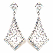Vintage Rhodium AB Earrings 9884